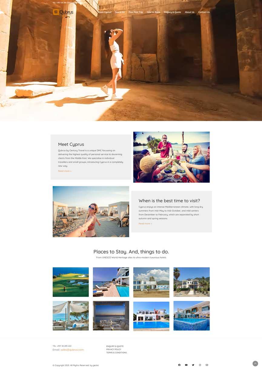 Qubrus.com | Century Travel, Gecko Website Design in Cyprus